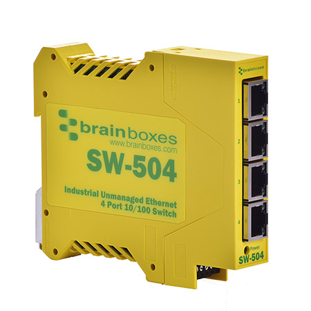 SW-504 - Industrial Ethernet 4 Port Switch DIN Rail Mountable